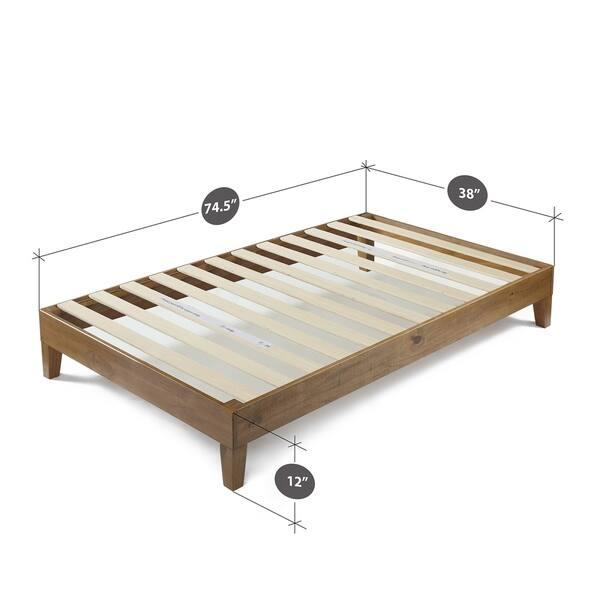 Priage By Zinus Rustic Pine Deluxe Wood Platform Bed Frame On Sale Overstock 16149726 Queen