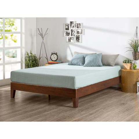 Priage by Zinus Deluxe Antique Espresso Solid Wood Platform Bed