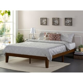 Priage Antique Espresso 12-inch Solid Wood Platform Bed