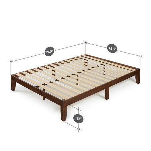 Priage by Zinus Antique Espresso Solid Wood Platform Bed