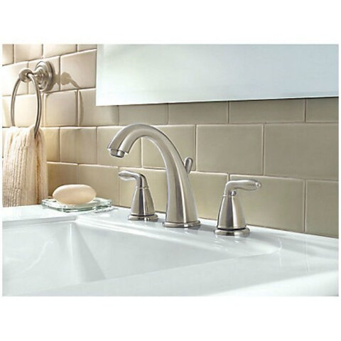 Pfister Serrano Two Handle Widespread Lavatory Faucet Brushed Nickel
