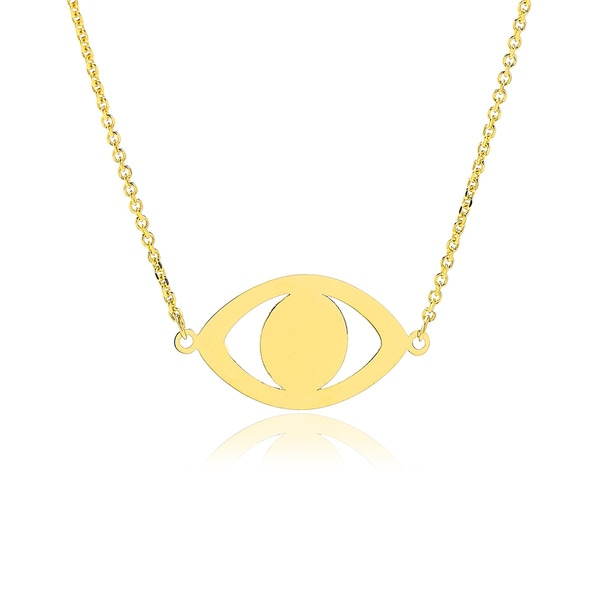 Adjustable Evil Eye Necklace In 14K Yellow Gold, 16-18 Inches