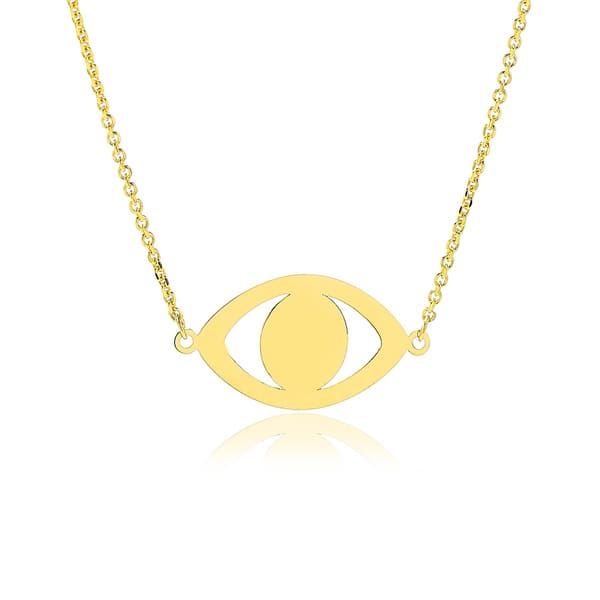 c5eb7449d8616 Shop Adjustable Evil Eye Necklace In 14K Yellow Gold, 16-18 Inches ...