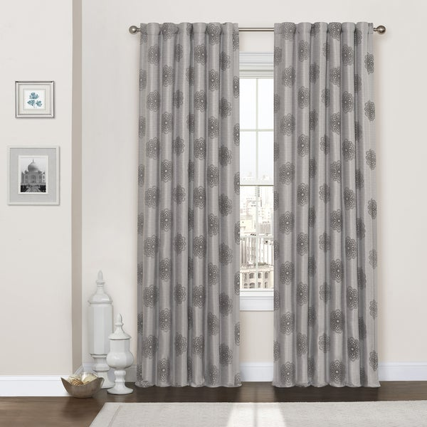 Eclipse Percy Flock Thermaweave Curtain Panel Free