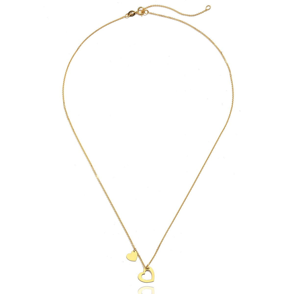 14K Yellow Gold Floating Heart Pendant on an Adjustable 14K Yellow Gold Chain Necklace