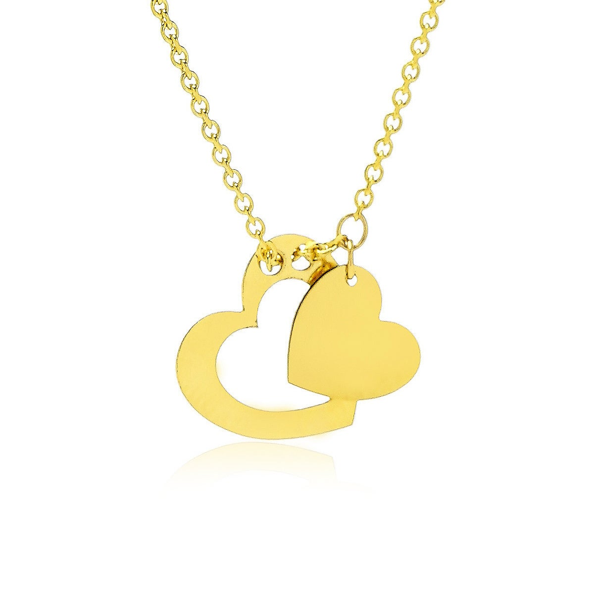 Adjustable Floating Double Heart Necklace In 14K Yellow G...