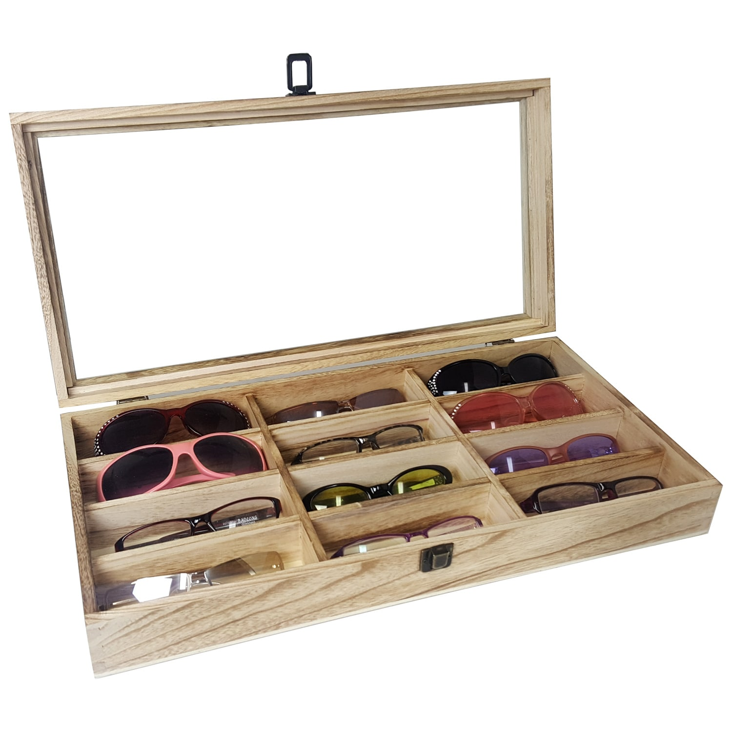 Ikee Design Eyewear Display Case Wood 12 Compartment Sunglasses Organizer