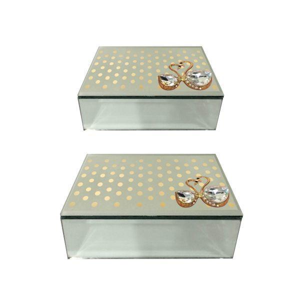 Benzara Set Of 2 Glass Jewelry Storage Box (Grey, Clear)