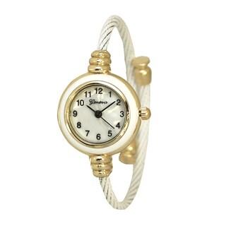 Olivia Pratt Women's Stainless Steel Petite Twisted Straps One-size Bangle Watch
