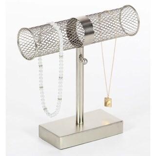 Benzara Silver Coinage Single Bar Metallic Jewelry Holder