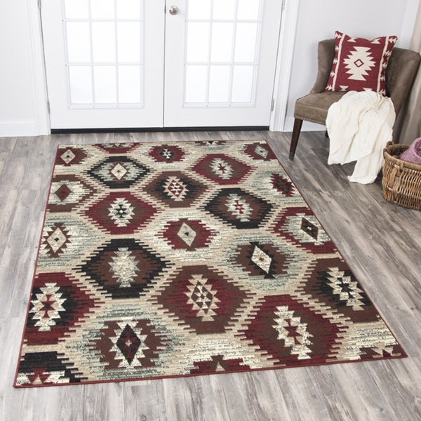 Rizzy Home Xcite Taupe Motif Area Rug (8' x 10') - 8' x10'