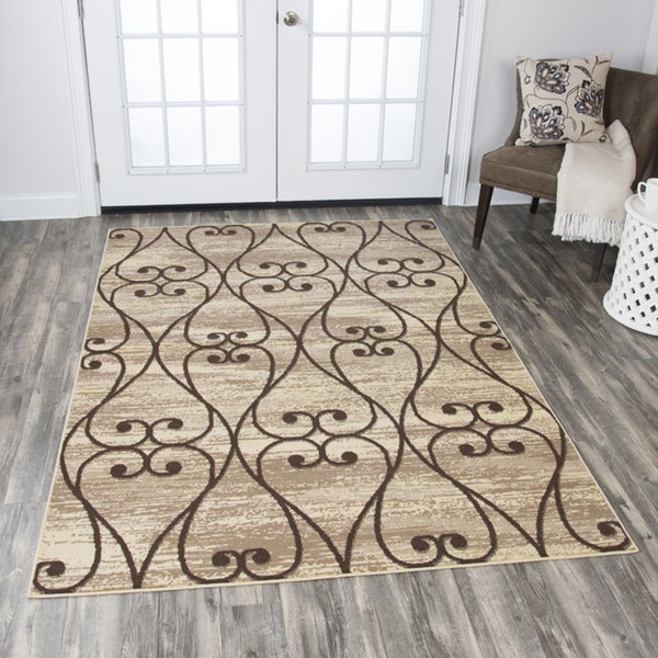 Rizzy Home Xcite Beige Scroll Work Area Rug (8' x 10') - 8' x10'