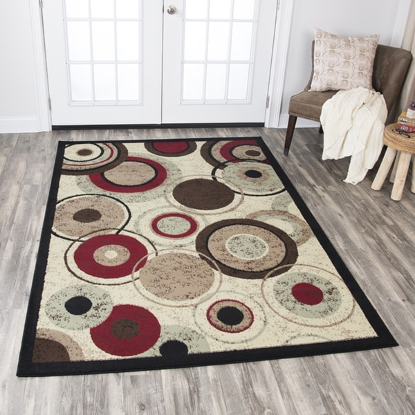 Rizzy Home Xcite Beige Circles Area Rug - 8' x 10'