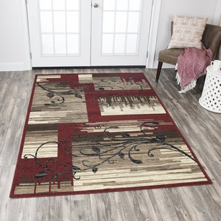 Rizzy Home Xcite Red Patchwork Area Rug (8' x 10')