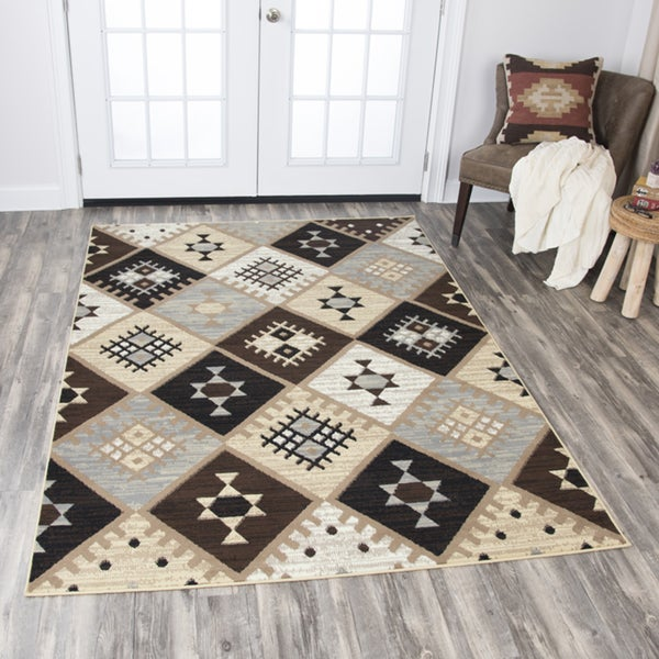 Rizzy Home Xcite Gold Diamonds Motif Area Rug - 8'x10'