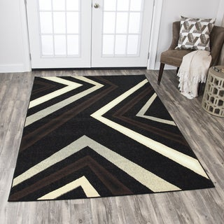 Rizzy Home Xcite Black Angle Area Rug (8' x 10') - 8' x10'