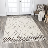 Rizzy Home Xcite Beige/ Brown/ Grey Blocks Lines Area Rug - 8' x 10'