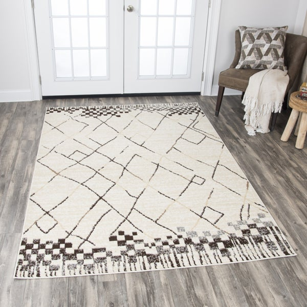 Rizzy Home Xcite Beige/ Brown/ Grey Blocks Lines Area Rug (8' x 10') - 8' x10'