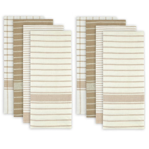 White and Beige Cotton Assorted Oversized Dishtowels (Pack of 8)