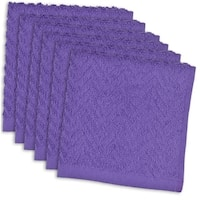 DII Purple Cotton 12-inch Zig-zag Dishcloths (Set of 6)