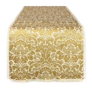 White/Gold Fabric Burlap Damask Table Runner