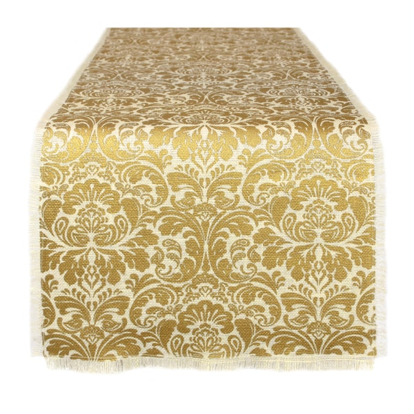 Shop Whitegold Fabric Burlap Damask Table Runner Free Shipping On