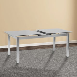 Armen Living Ivan Grey Stainless Steel and Glass Extension Dining Table