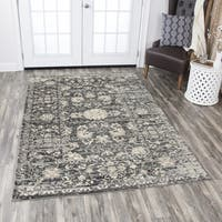 "Rizzy Home Panache Grey Floral Distress Area Rug (7'10 x 10'10) - 7'10"" x 10'10"""