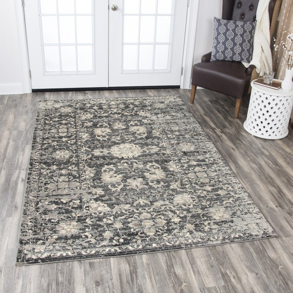 Rizzy Home Panache Grey Floral Distress Area Rug - 7'10 x 10'10