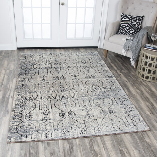 Rizzy Home Panache Taupe Scroll-patterned Distressed Area Rug - 7'10 x 10'10