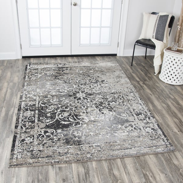 "Panache Central Medallion Scrollwork Taupe Distressed Area Rug (7'10 x 10'10) - 7'10"" x 10'10"""