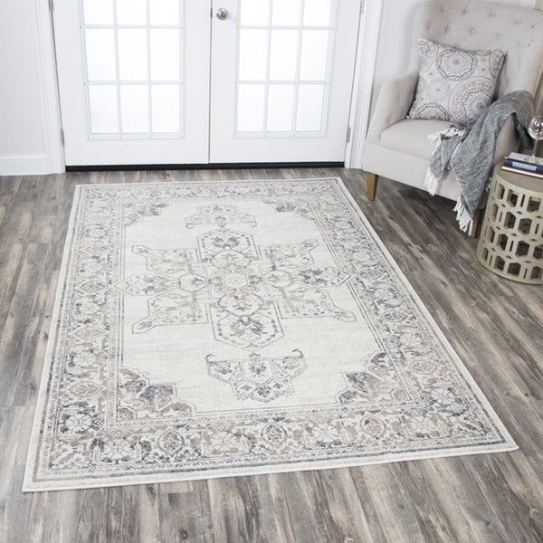 Rizzy Home Panache Natural/Grey Central Medallion Motif Distressed Area Rug - 7'10 x 10'10