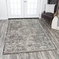 Panache Grey Distressed Central Medallion Pattern Area Rug - 7'10 x 10'10