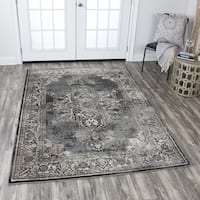 "Panache Grey Central Medallion Pattern Distressed Area Rug (7'10 x 10'10) - 7'10"" x 10'10"""