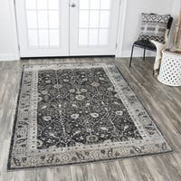 """Rizzy Home Panache Black Distressed Floral Area Rug (7'10 x 10'10) - 7'10"""" x 10'10"""""""
