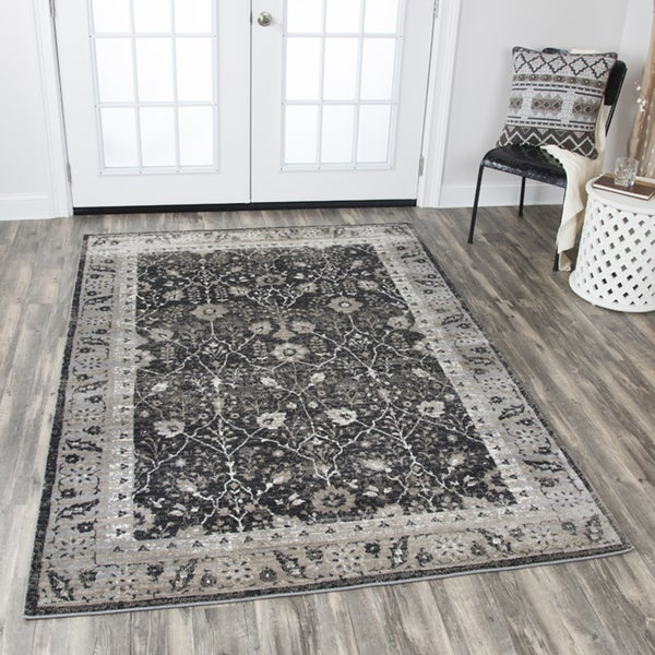 "Rizzy Home Panache Black Distressed Floral Area Rug (7'10 x 10'10) - 7'10"" x 10'10"""