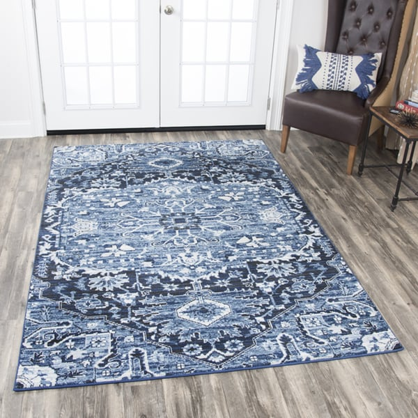 Rizzy Home Panache Blue Didstressed Floral Medallion Area Rug - 7'10 x 10'10