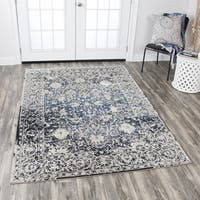 Rizzy Home Panache Taupe/Blue Distressed Floral Area Rug - 7'10 x 10'10