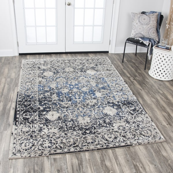 "Rizzy Home Panache Taupe/Blue Distressed Floral Area Rug (7'10 x 10'10) - 7'10"" x 10'10"""