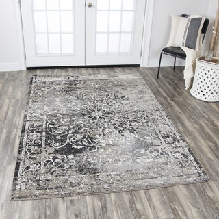 Rizzy Home Panache Taupe Central Medallion Scrollwork Distressed Area Rug (3'3 x 5'3)