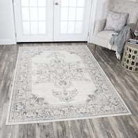 Rizzy Home Panache Natural/Beige Distressed Medallion Area Rug - 3'3 x 5'3