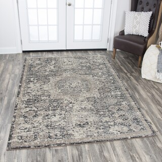 Rizzy Home Panache Grey Central Medallion Distressed Area Rug (3'3 x 5'3)