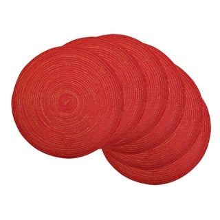 DII Red Plastic 15-inch Round Variegated Braided Placemats (Set of 6)