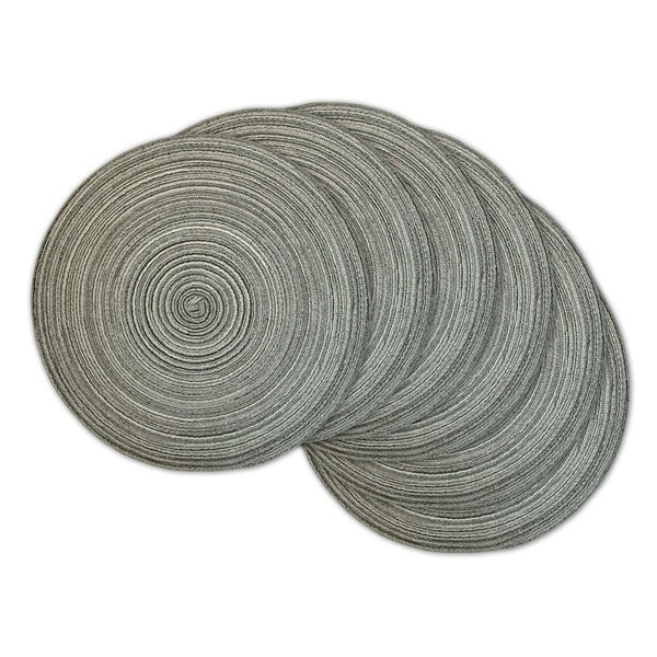 Grey Plastic Round Variegated Placemats (Pack of 6)
