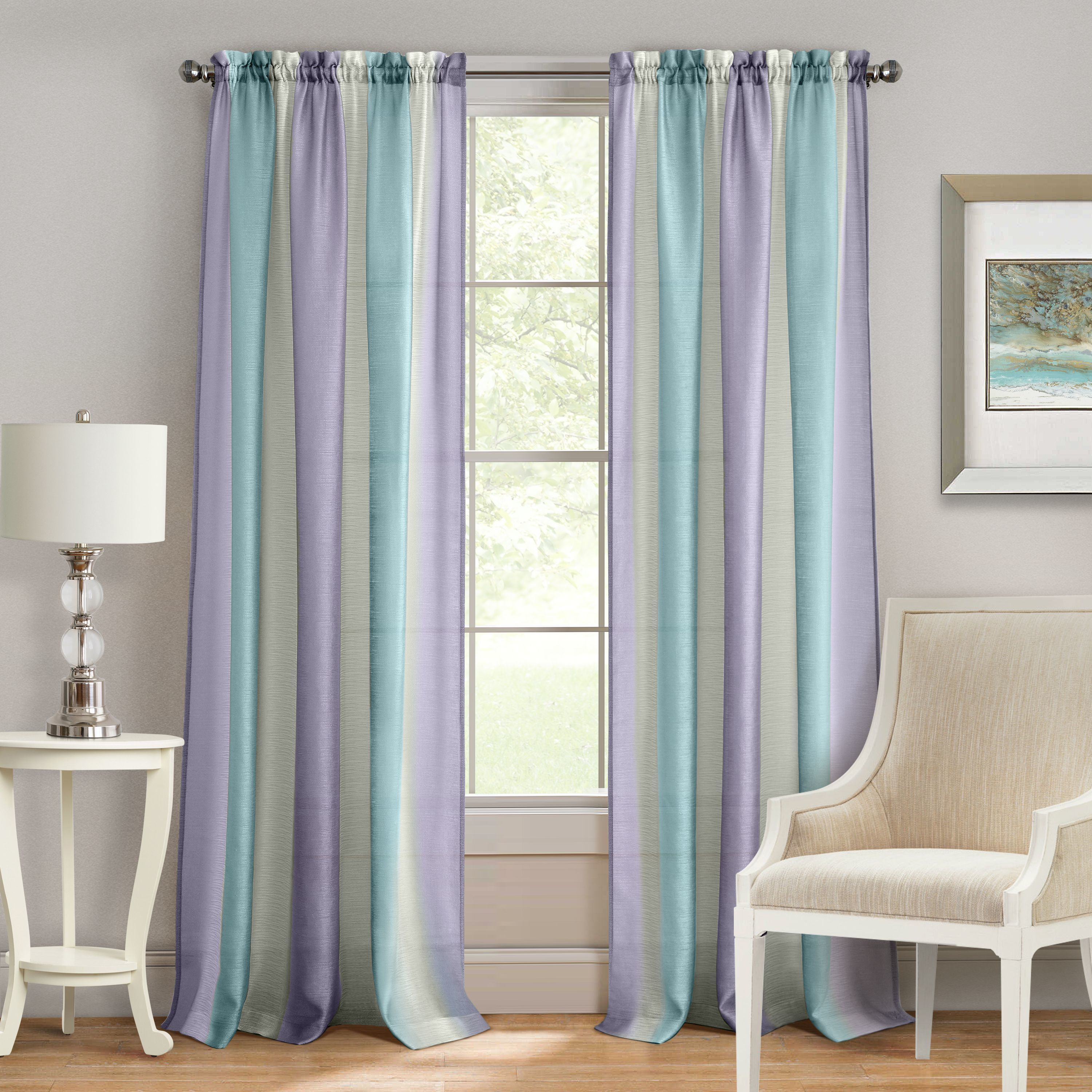 Spectrum Rod Pocket Window Curtain Panel (84 Inches - Silver)