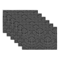 DII Damask Black and Grey Vinyl Placemats (Set of 6)