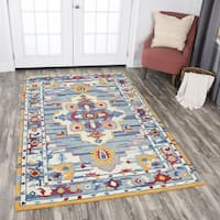 Rizzy Home Zingaro Hand-tufted Natural Wool Central Medallion Area Rug (10' x 13') - 10' x 13'