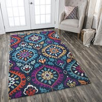 Zingaro Medallion Navy Wool Hand-tufted Area Rug - 10' x 13'