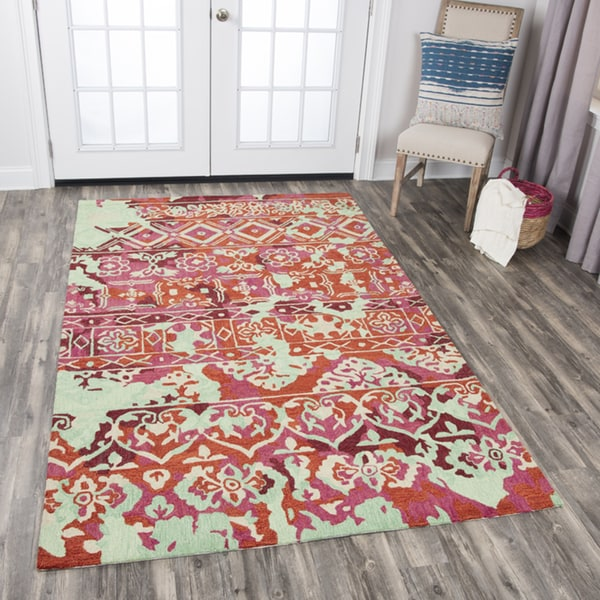 Rizzy Home Zingaro Pink/Multicolored Wool Hand-tufted Distressed Area Rug - 10' x 13'