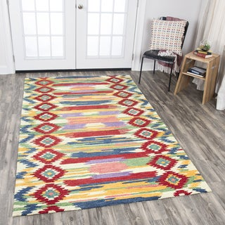 Rizzy Home Hand-tufted Zingaro Natural Wool Strips/iKat Area Rug (10' x 13')